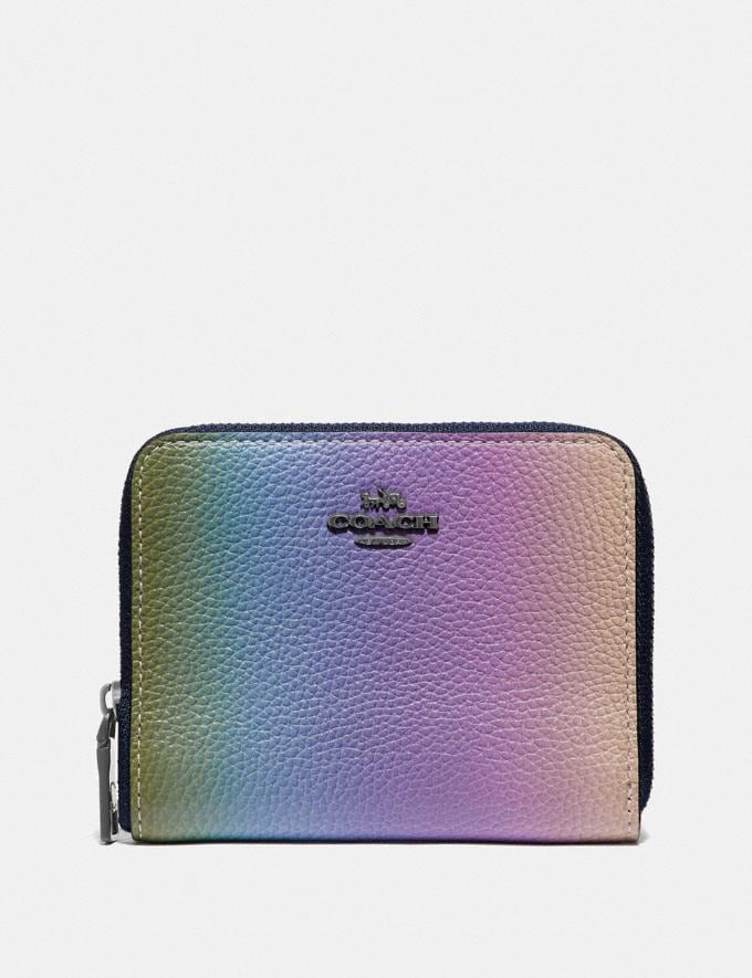 Coach Small Zip Around Wallet With Ombre Multicolor/Gunmetal Women Small Leather Goods Small Wallets