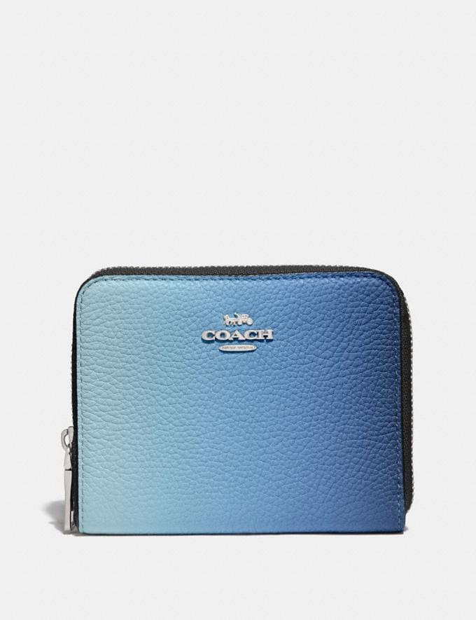Coach Small Zip Around Wallet With Ombre Blue Multi/Silver Women Small Leather Goods Small Wallets