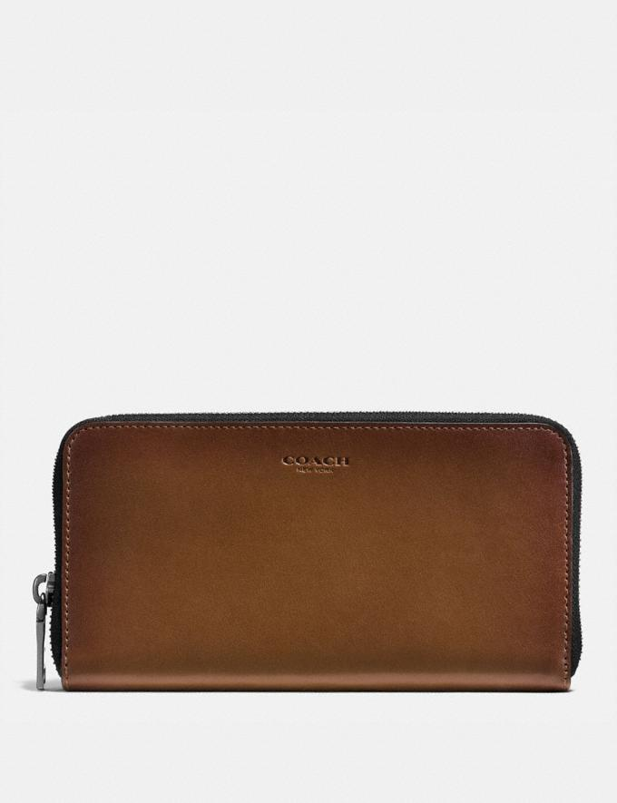 Coach Accordion Wallet Dark Saddle Men Wallets