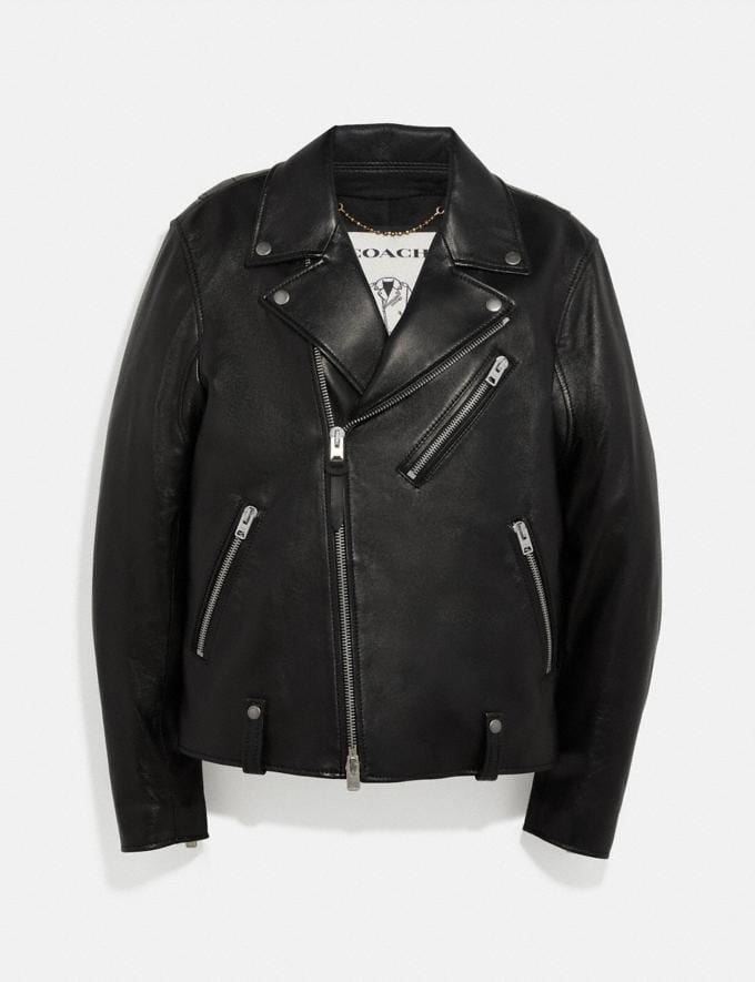 Coach Leather Moto Jacket Black Herren Kleidung Mäntel & Jacken