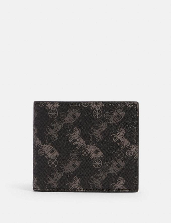 Coach Id Billfold Wallet With Horse and Carriage Print Qb/Black Multi Men