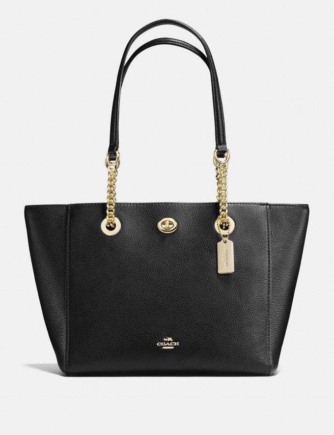 Coach Turnlock Chain Tote 27 Light Gold/Black