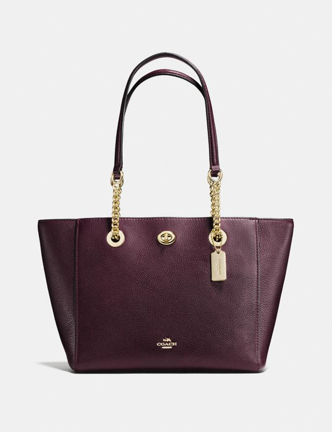 Coach Turnlock Chain Tote 27 Oxblood/Light Gold New Featured Online-Only