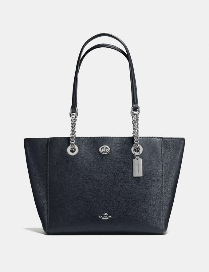 Coach Turnlock Chain Tote 27 Midnight Navy/Silver New Featured Online-Only
