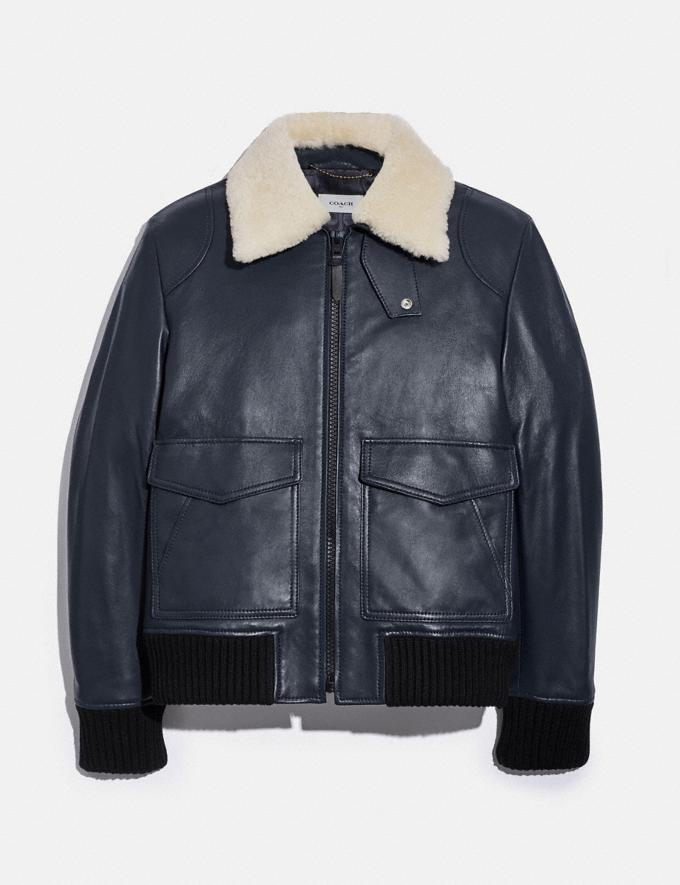 Coach Shearling Collar Bomber Jacket Navy