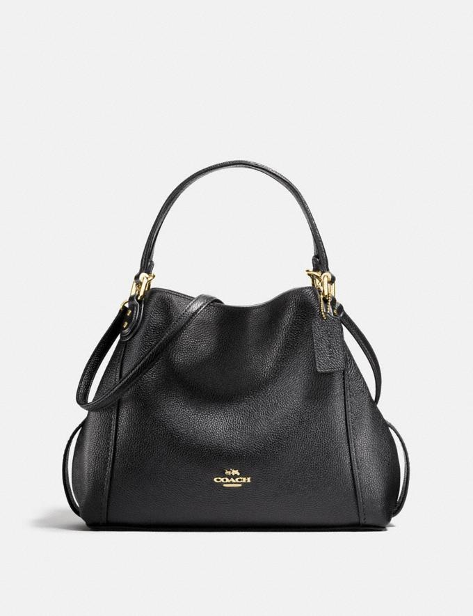 Coach Edie Shoulder Bag 28 Black/Light Gold New Featured Online-Only
