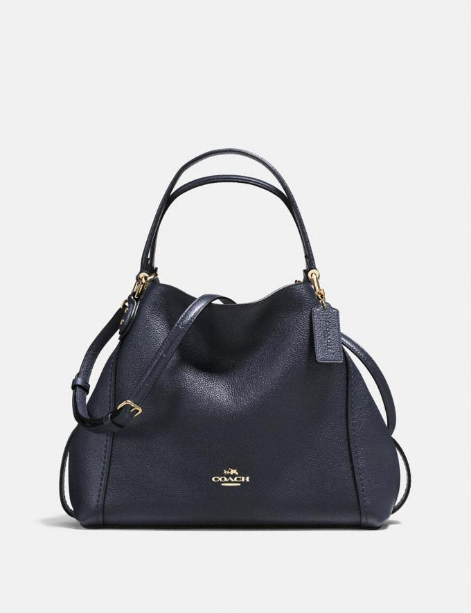 Coach Edie Shoulder Bag 28 Navy/Light Gold VIP SALE Women's Sale Bags