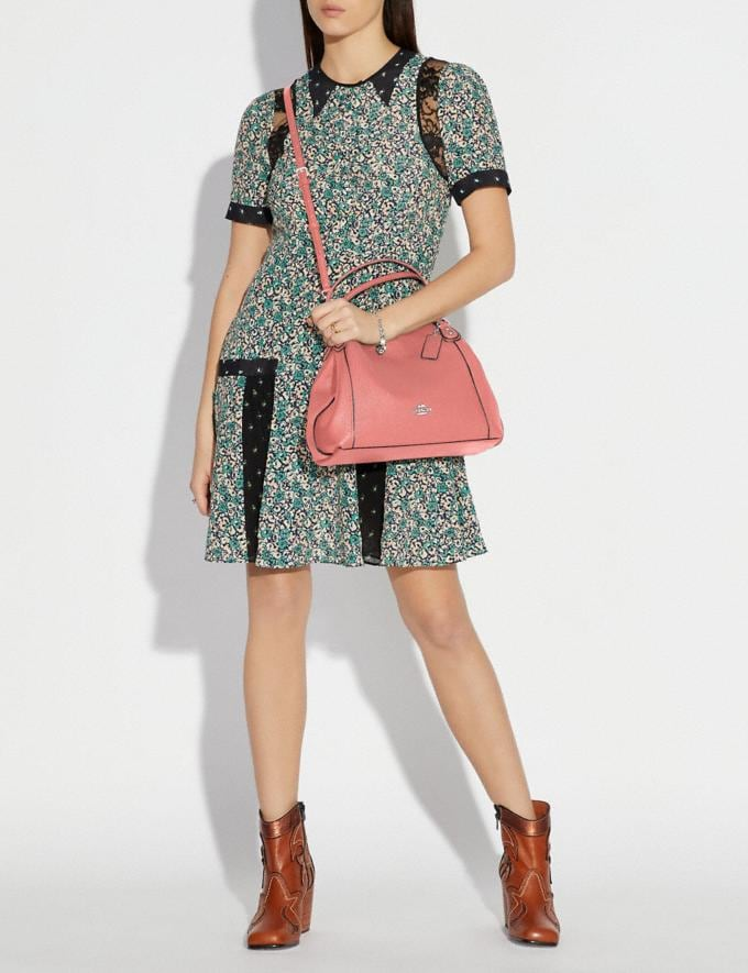 Coach Edie Shoulder Bag 28 Bright Coral/Silver New Featured Online Exclusives Alternate View 3
