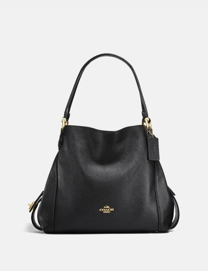 Coach Edie Shoulder Bag 31 Black/Light Gold Women Bags Shoulder Bags