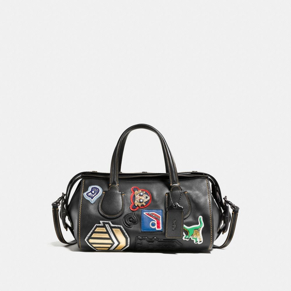 VARSITY PATCH BADLANDS SATCHEL IN GLOVETANNED LEATHER