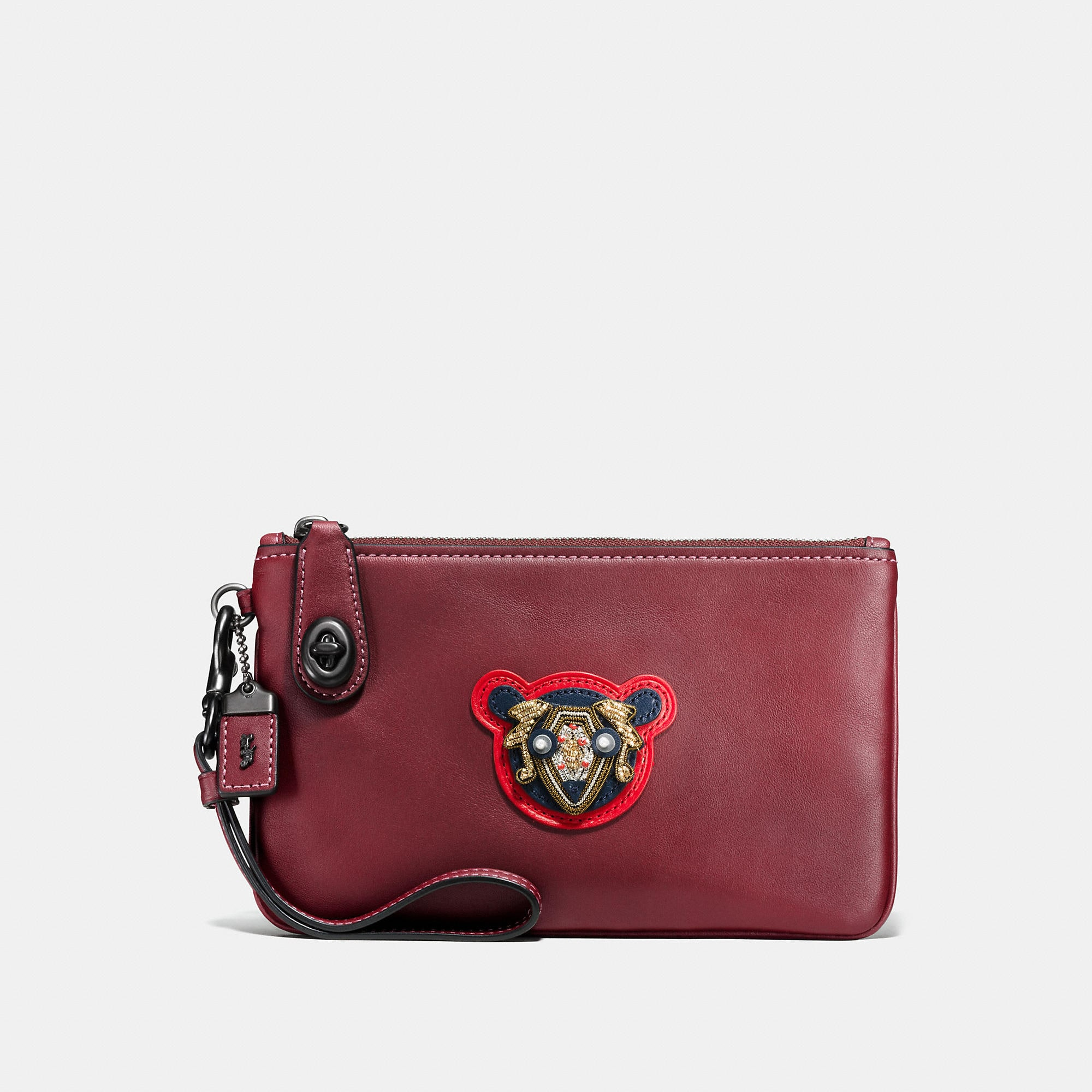 Coach Turnlock Wristlet 21 In Varsity Patches Leather
