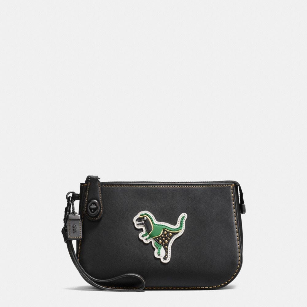 Coach Varsity Patches Turnlock Pouch in Glovetanned Leather