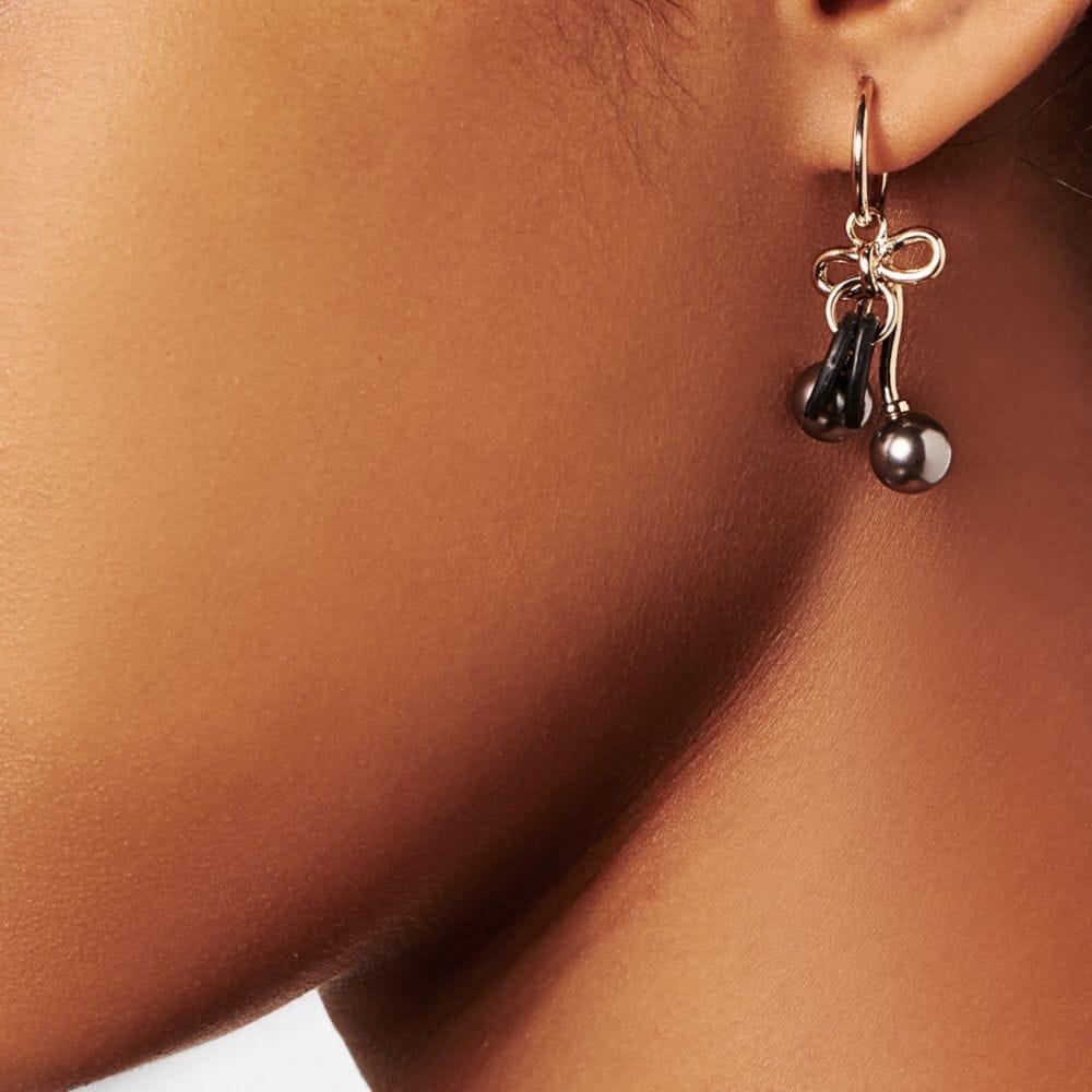 Pearl Kiss Lock Cherry Hoop Earrings - Alternate View A1