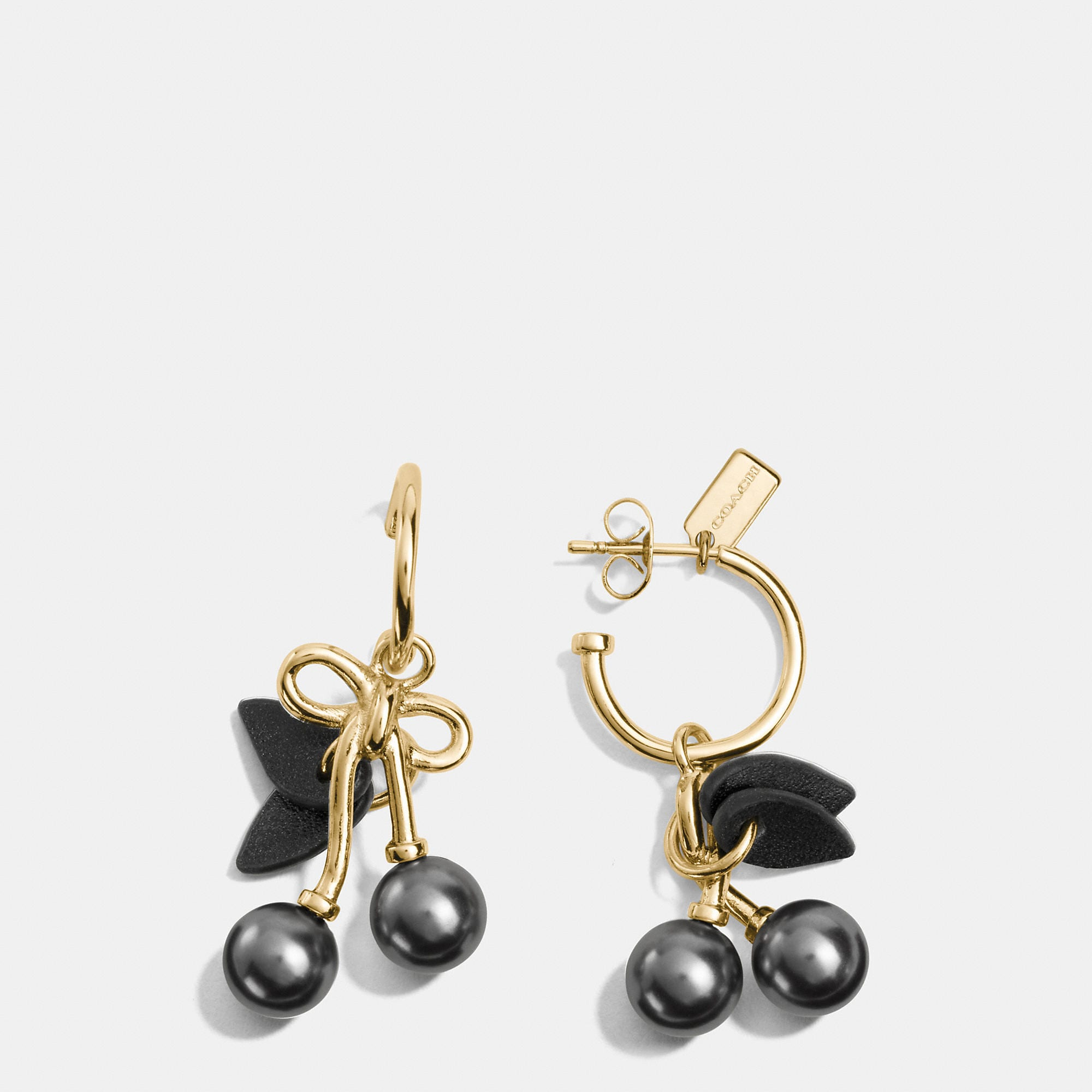 Coach Pearl Kisslock Cherry Hoop Earrings