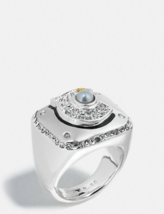 Coach Coach Championship Ring Clear/Silver Women Accessories Jewelry Rings