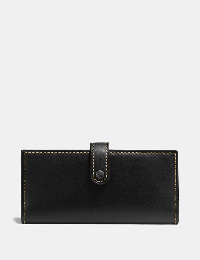 Coach Slim Trifold Wallet Black Copper/Black Women Small Leather Goods Large Wallets