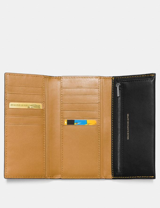 Coach Slim Trifold Wallet Black Copper/Black Women Small Leather Goods Large Wallets Alternate View 1