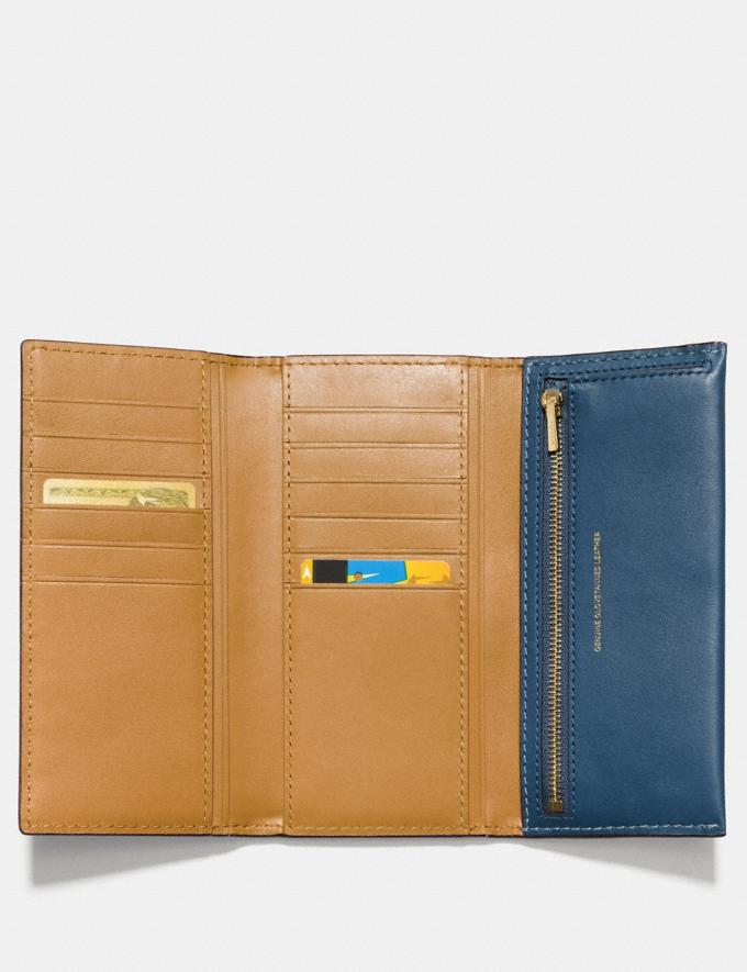 Coach Slim Trifold Wallet Dark Denim/Brass Women Wallets & Wristlets Large Wallets Alternate View 1