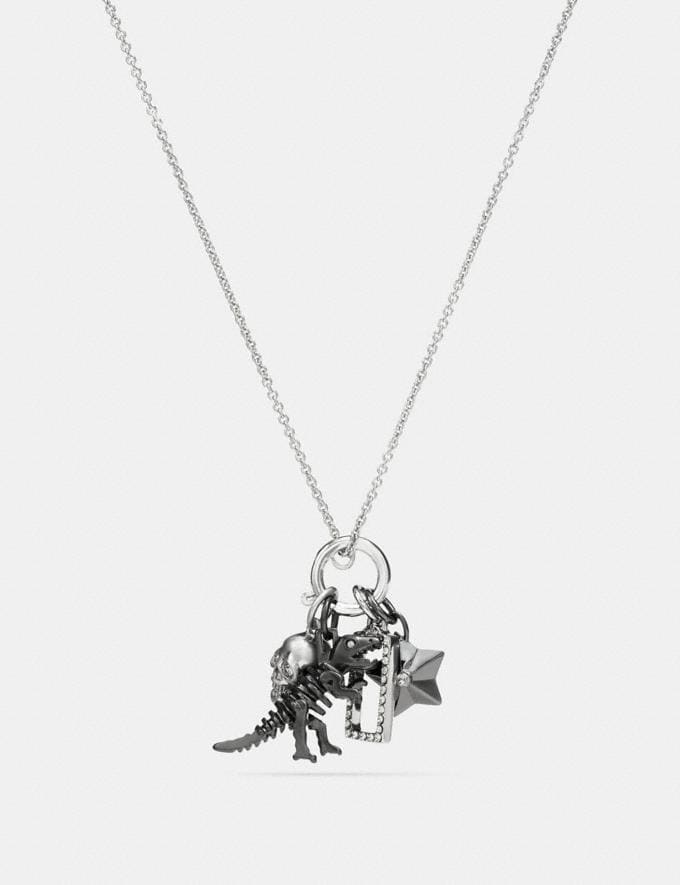 Coach Rexy Skull Charm Set Necklace Black/Silver Women Accessories Jewelry New Arrivals