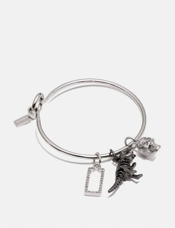 Coach Rexy Skull Hoop Bangle Charm Set Black/Silver Women Accessories Jewelry New Arrivals