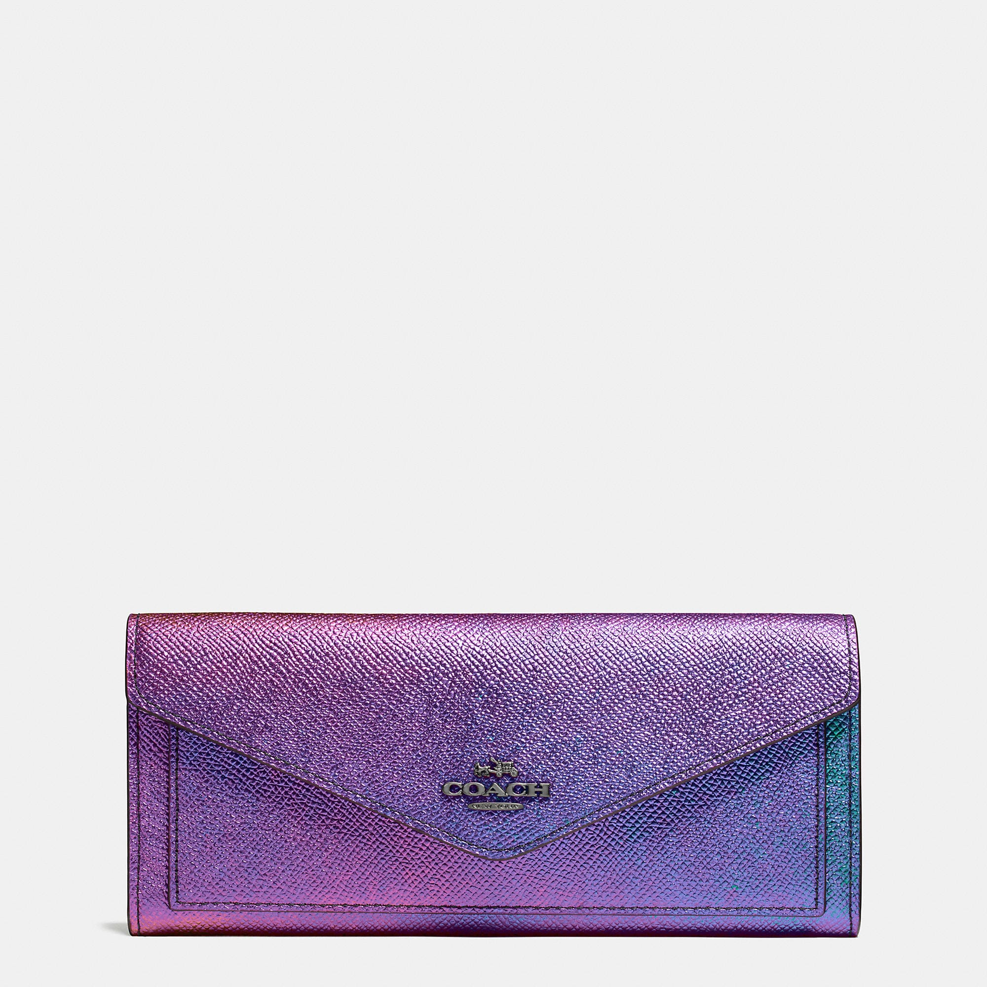 Coach Soft Wallet In Hologram Leather