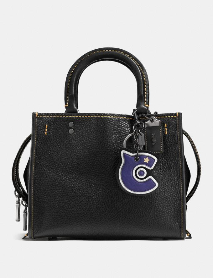 Coach C Patch Bag Charm Black/Purple/Black  Alternate View 2