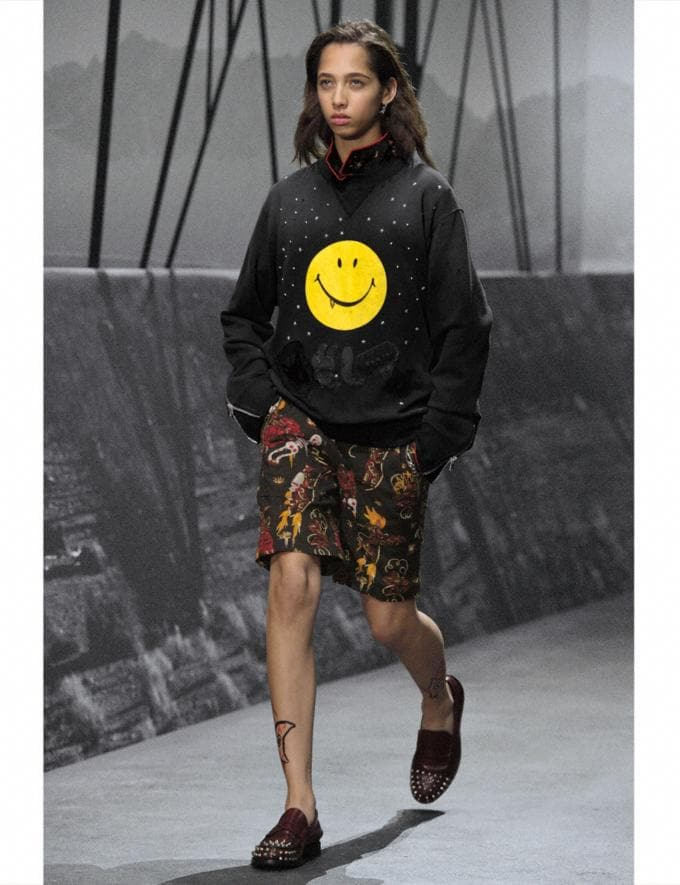 Coach Gnarly Face Sweatshirt Black/Yellow Gnarly Face Runway Shop Men Ready-to-Wear Alternate View 2