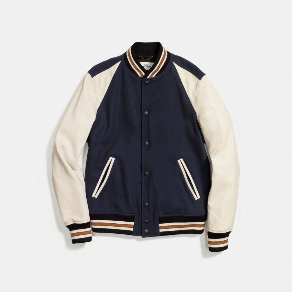 Coach Wool Leather Varsity Jacket Alternate View 1