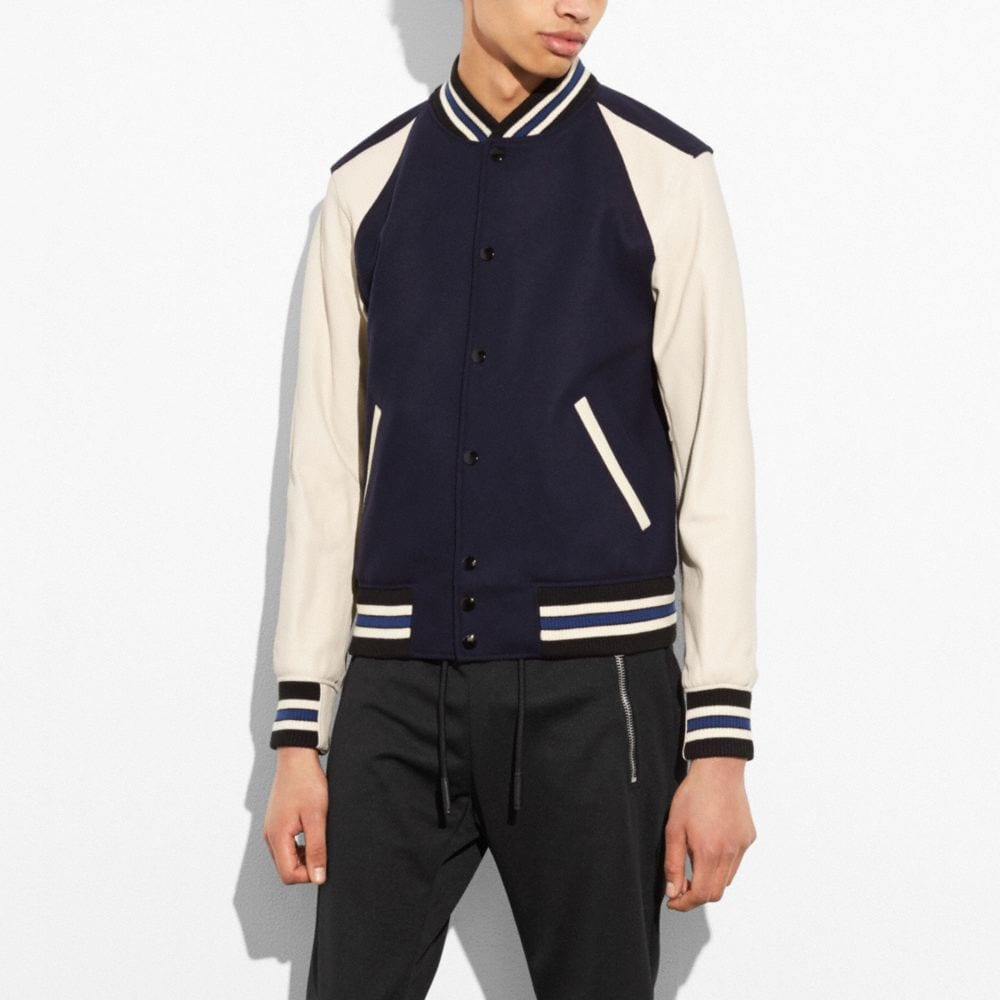 Coach Wool Leather Varsity Jacket Alternate View 3