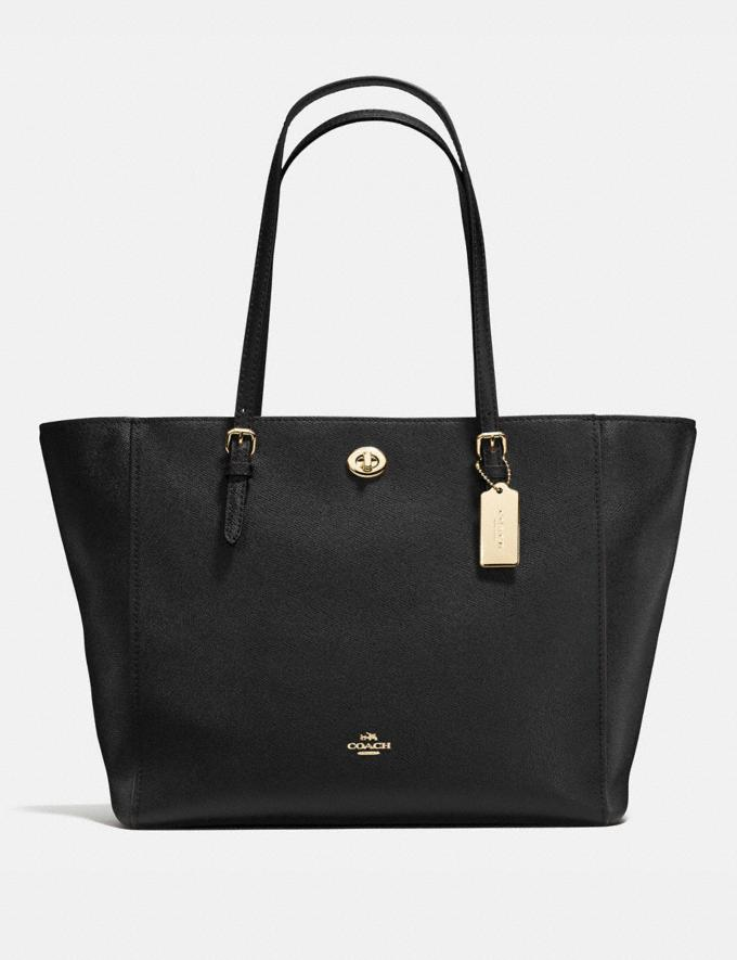 Coach Turnlock Tote Black/Light Gold Women Bags Totes