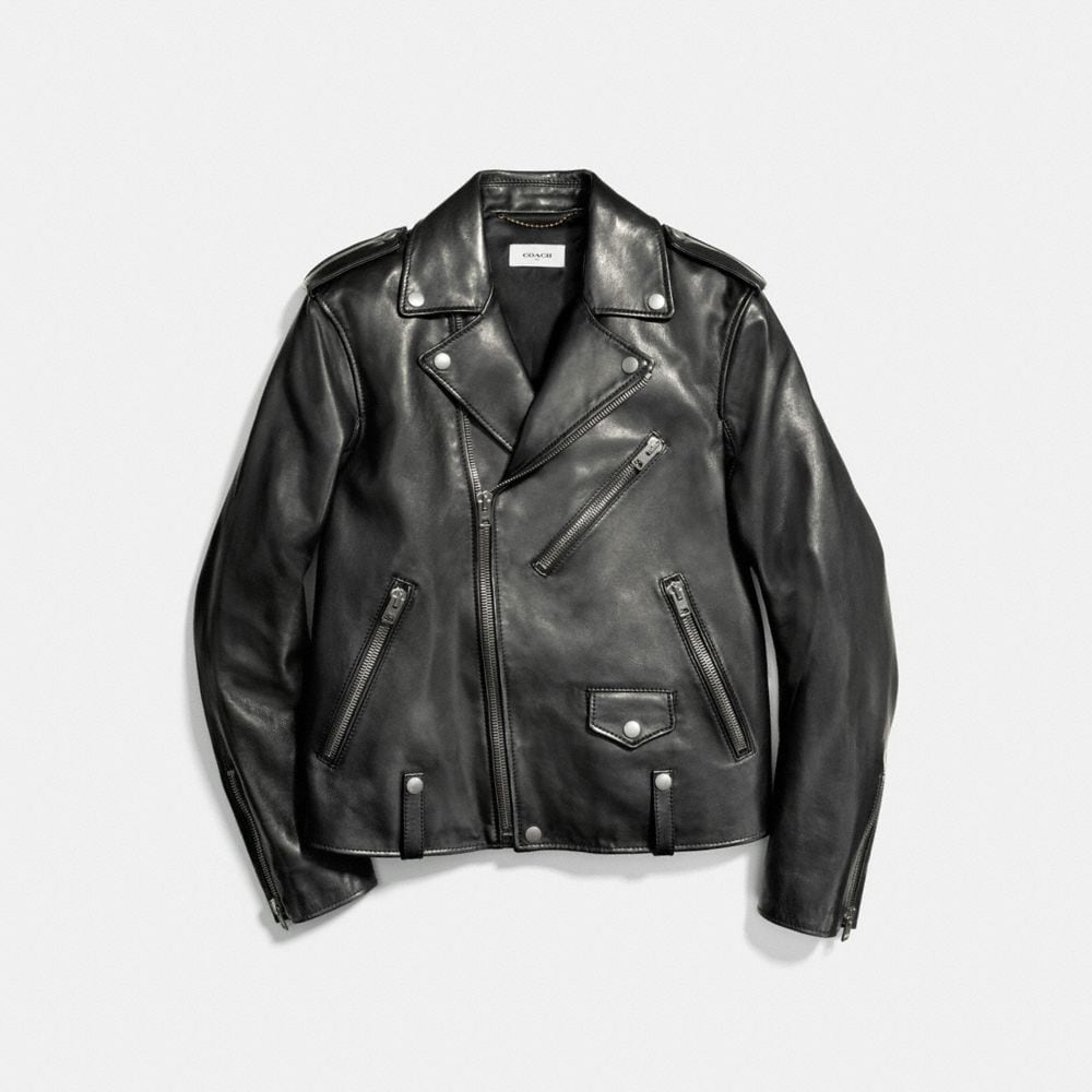 Leather Moto Jacket - Alternate View A1