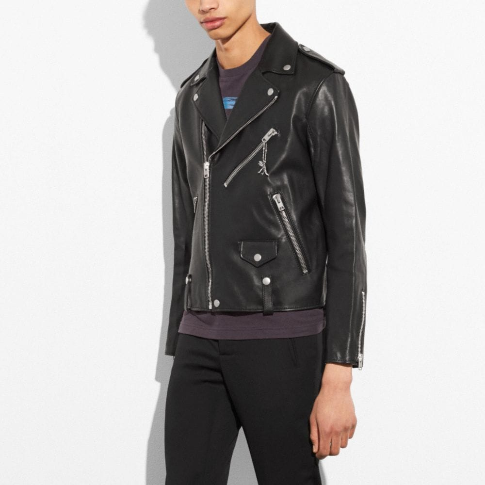 Coach Leather Moto Jacket Alternate View 3