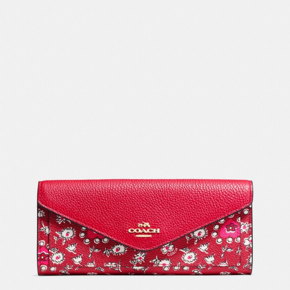SOFT WALLET IN WILD HEARTS PRINT COATED CANVAS