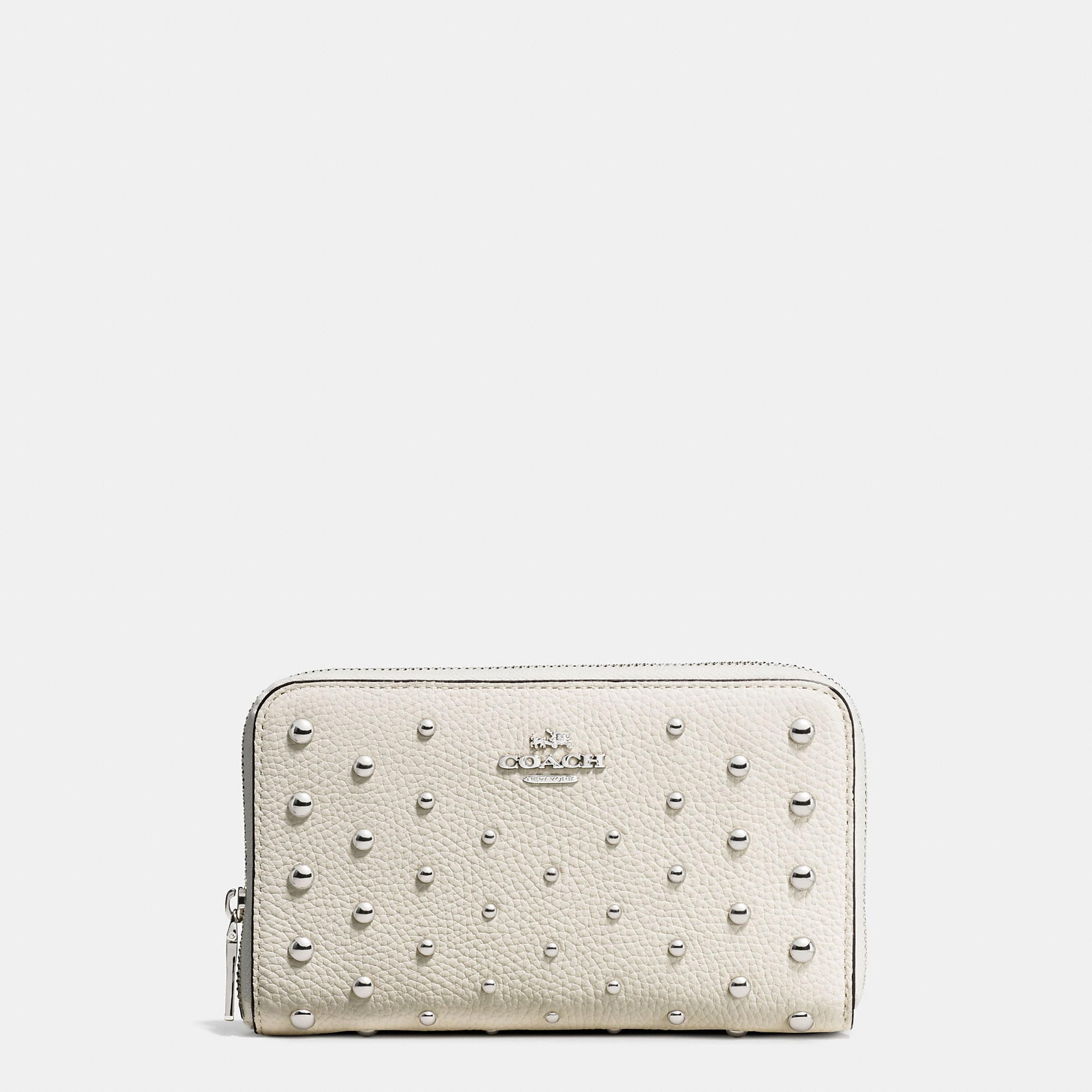 Coach Medium Zip Around Wallet In Polished Pebble Leather With Ombre Rivets