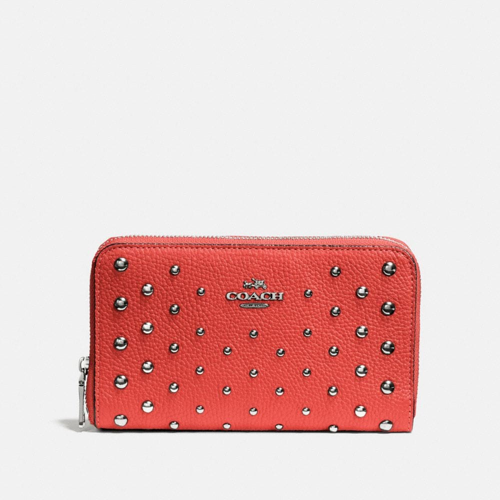 Coach Medium Zip Around Wallet With Ombre Rivets