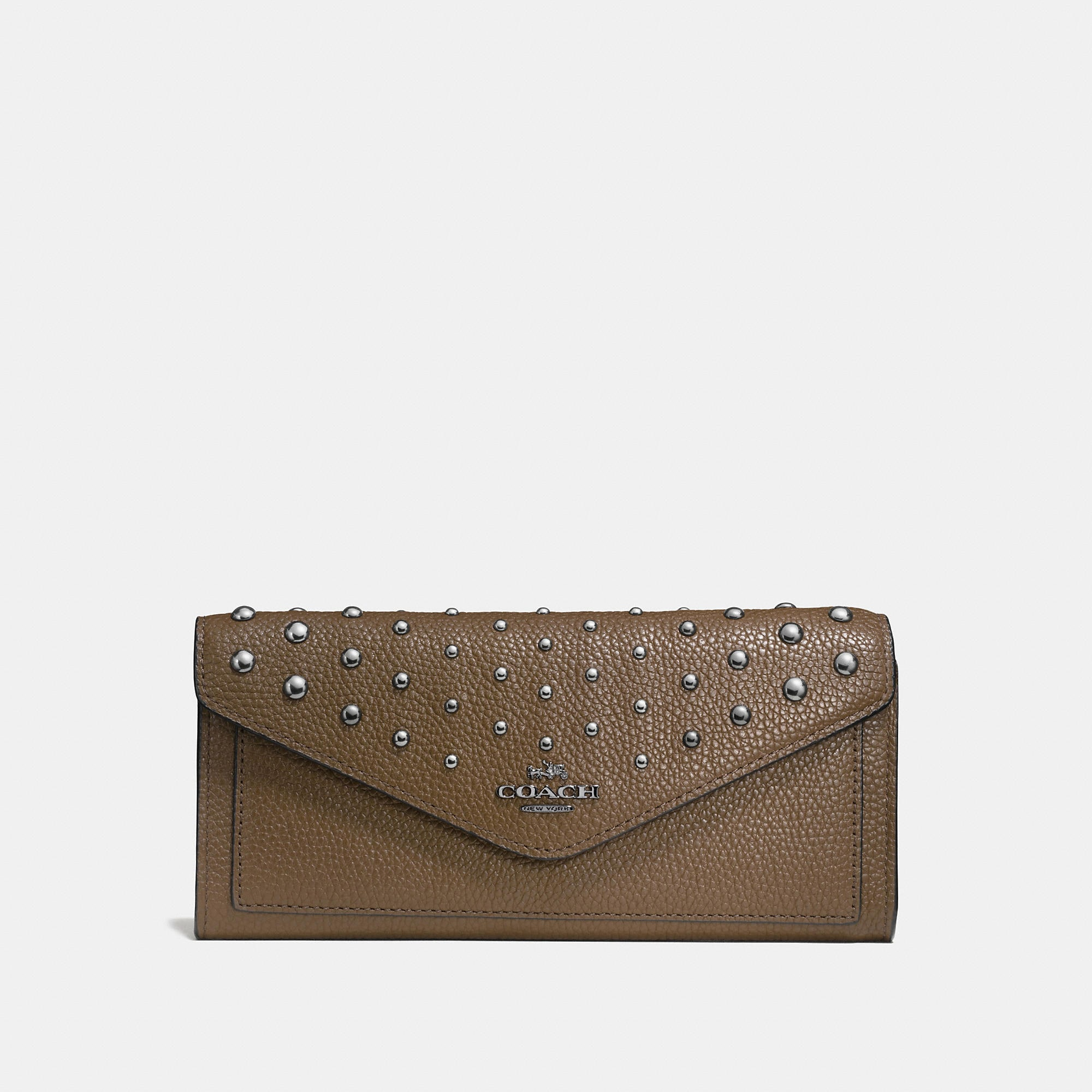 Coach Soft Wallet In Polished Pebble Leather With Ombre Rivets