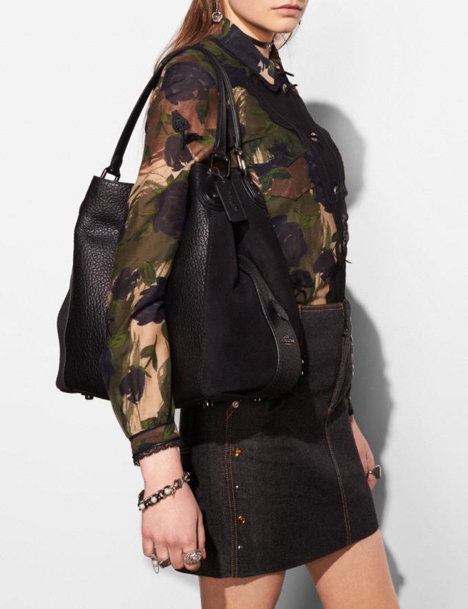Coach Edie Shoulder Bag 42 Black/Dark Gunmetal Women Bags Shoulder Bags Alternate View 3