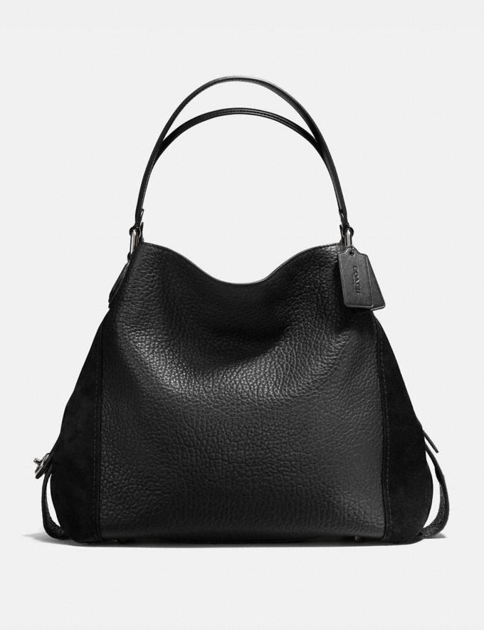 Coach Edie Shoulder Bag 42 Black/Dark Gunmetal Women Bags Shoulder Bags