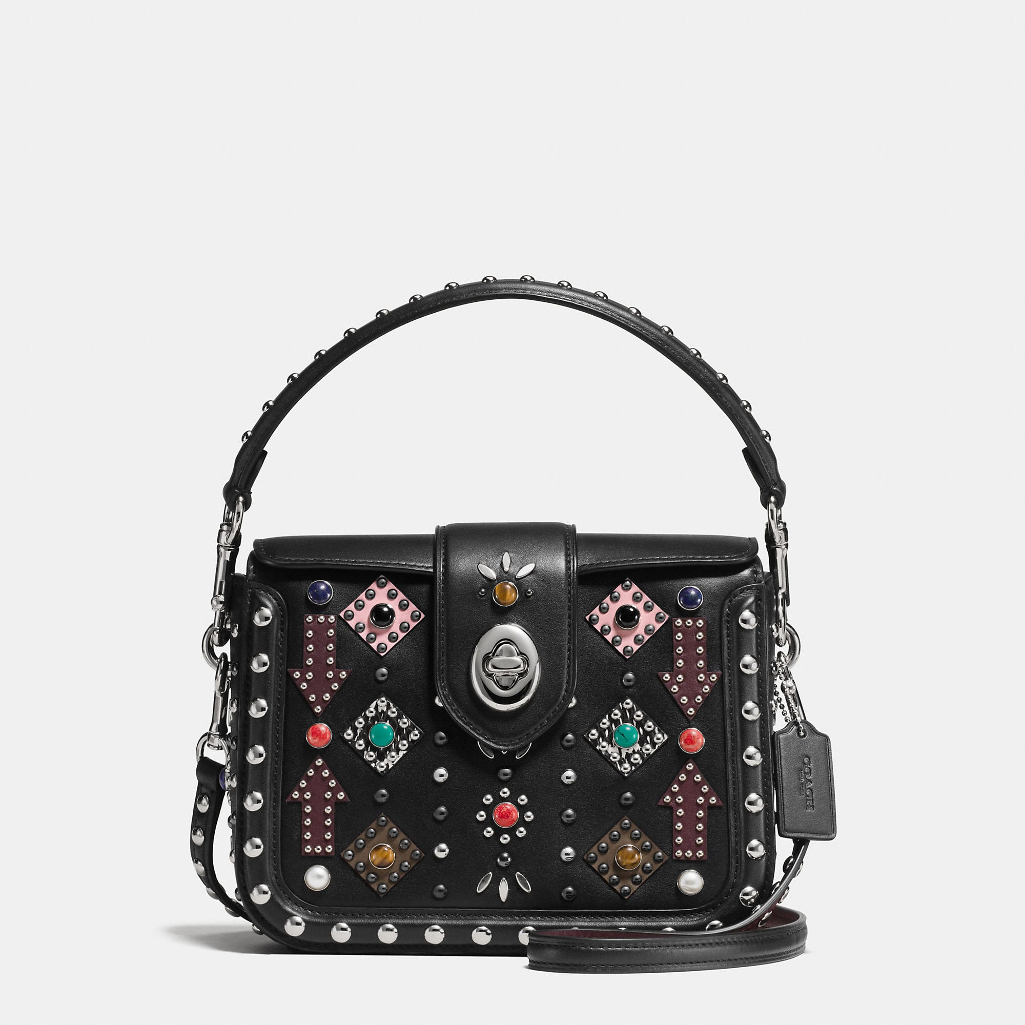 Coach All Over Western Rivets Page Crossbody In Glovetanned Leather