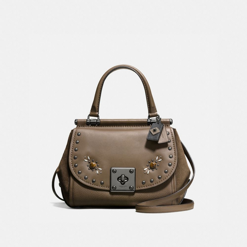 DRIFTER TOP HANDLE IN GLOVETANNED LEATHER WITH WESTERN RIVETS