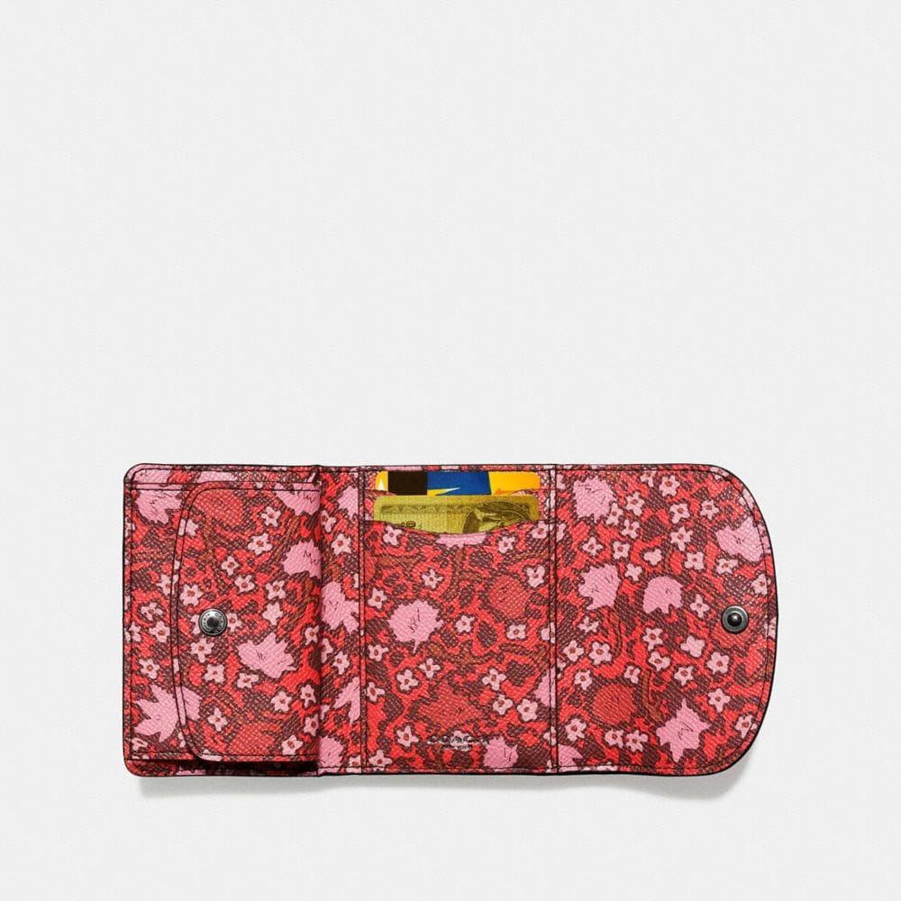 Double Flap Small Wallet in Mixed Yankee Floral Print Canvas - Alternate View A1