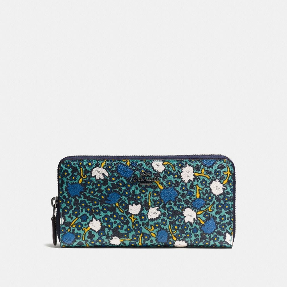 Accordion Zip Wallet in Yankee Floral Print Coated Canvas