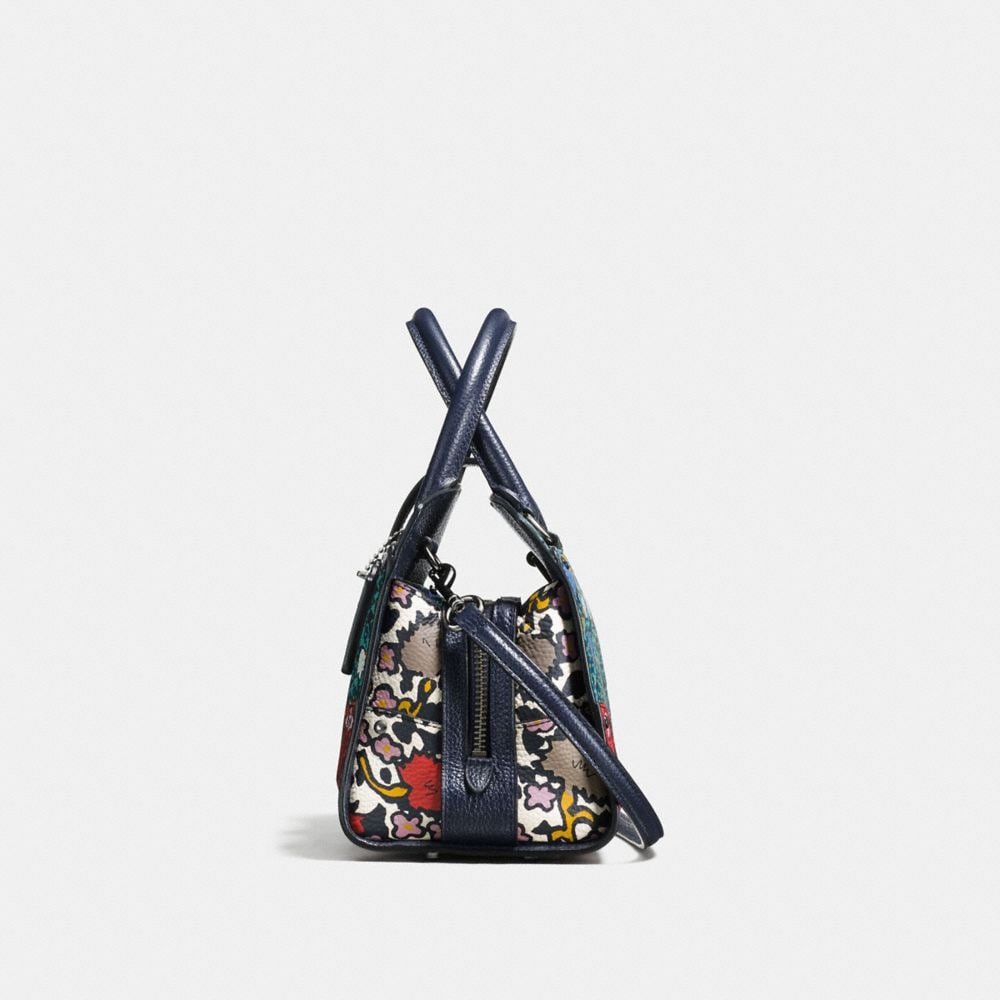 Mercer Satchel 24 in Multi Floral Print Polished Pebble Leather - Alternate View A1