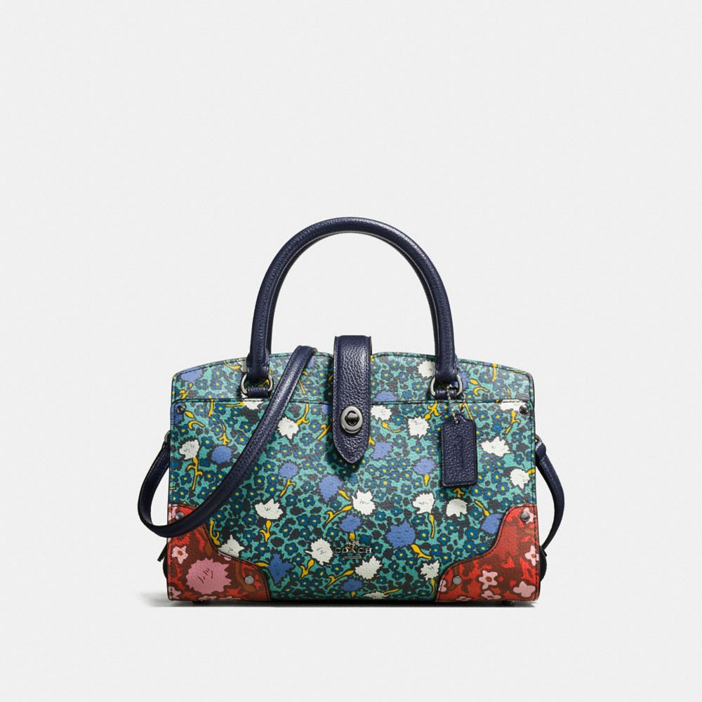 Mercer Satchel 24 in Multi Floral Print Polished Pebble Leather