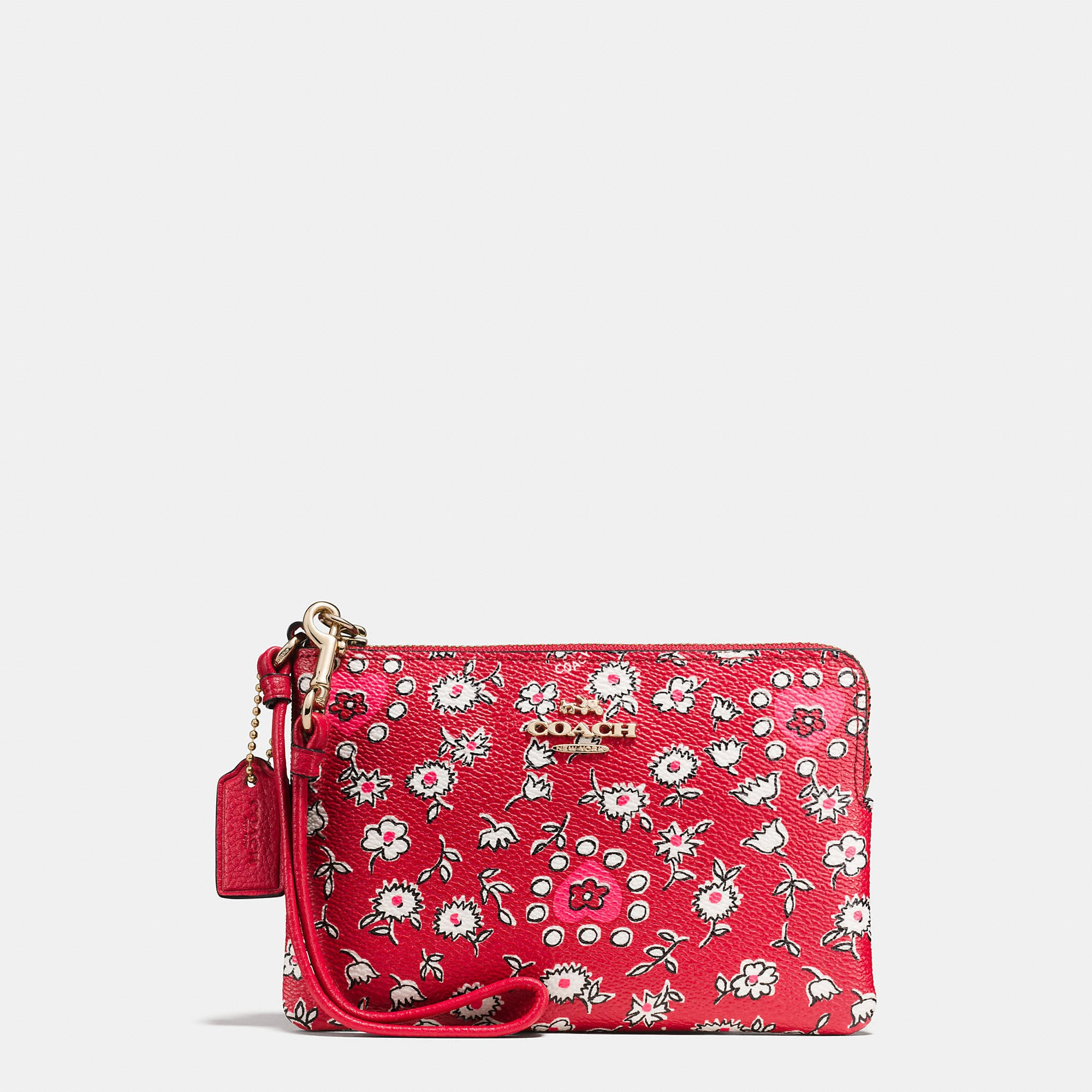 Coach Small Wristlet In Wild Hearts Print Coated Canvas