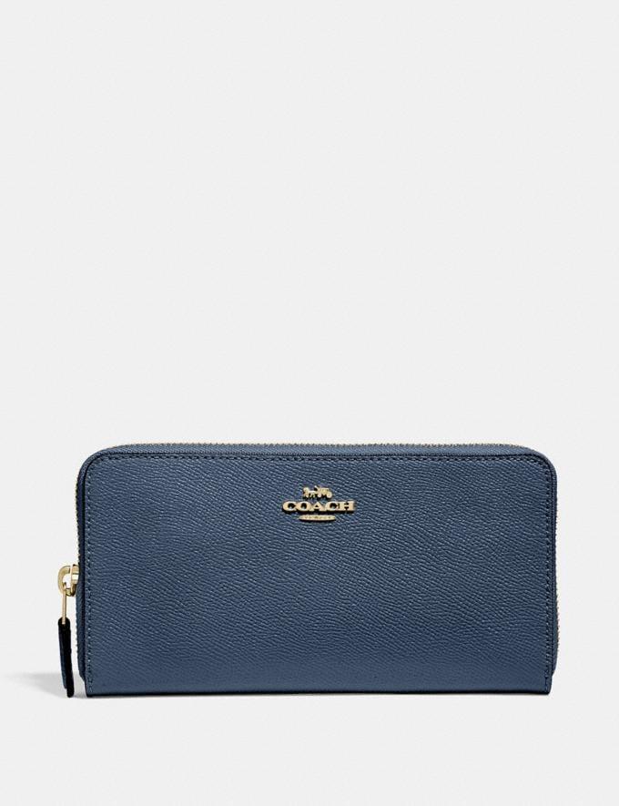 Coach Accordion Zip Wallet Brass/Dark Denim Women Wallets & Wristlets