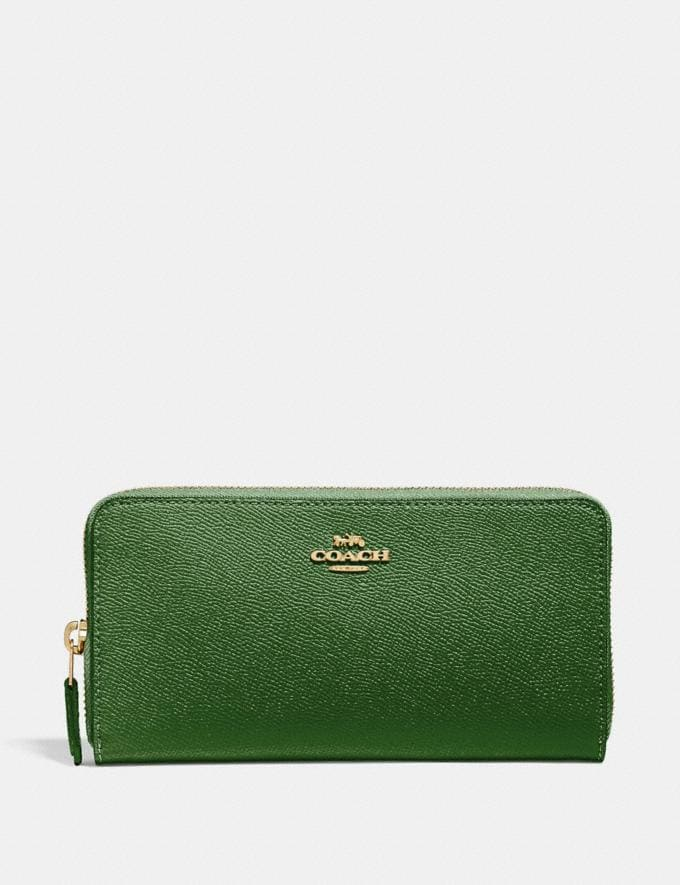 Coach Accordion Zip Wallet Hunter Green/Gold New Women's New Arrivals Small Leather Goods