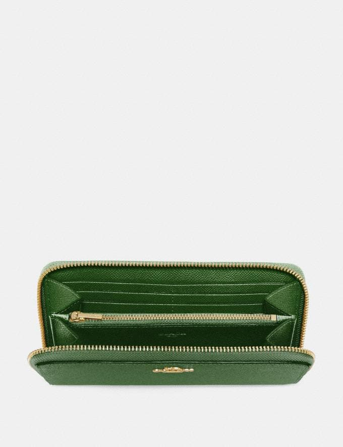 Coach Accordion Zip Wallet Hunter Green/Gold New Women's New Arrivals Small Leather Goods Alternate View 1