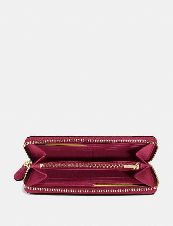 Coach Accordion Zip Wallet Bright Cherry/Gold Women Wallets & Wristlets Alternate View 1