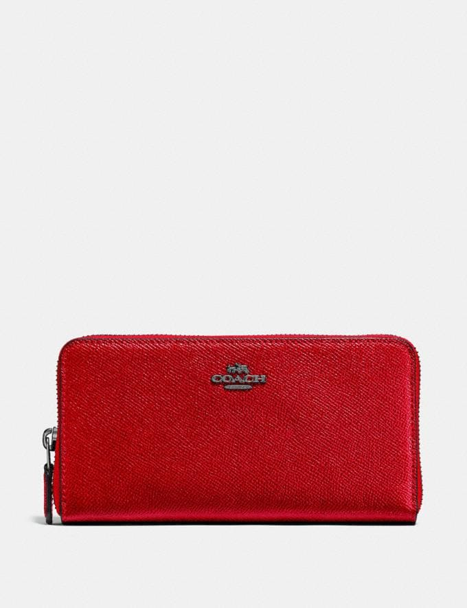Coach Accordion Zip Wallet Red Women Small Leather Goods Large Wallets